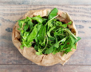 Fresh Arugula salad in the paper bage