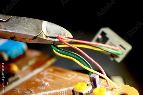 Electrical board with electronic components. High-tech ... on
