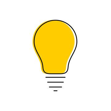 Modern yellow light bulb thin line icon. Idea and creativity symbol on white background.