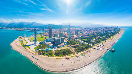 Aerial image of beautiful Batumi made with drone in sunny summer weather.