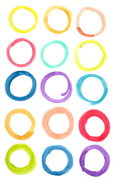 Circle shape design elements. Set of multicolored watercolor  rings shape, Hand drawn colorful watercolor rings for your design, Abstract illustration on a white background