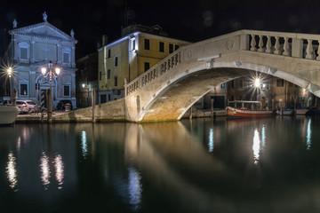 Chioggia il Ponte di Vigo in notturna