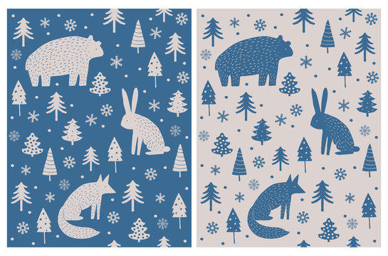 Bear, Hare and Fox Sitting Among Christmas Trees and Snow Flakes.Abstract Hand Drawn Woodland Vector Pattern. Dark Blue and Beige Scandinavian Style Art.Simple Winter Forest Design for Card, Printing.