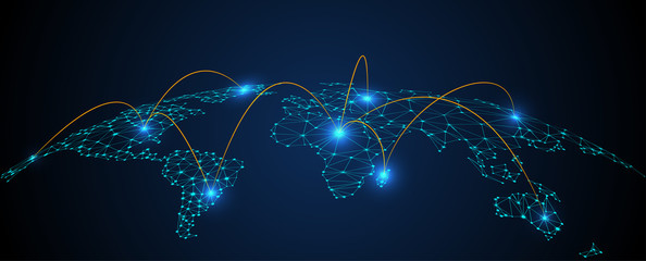 Global network connection concept, abstract concept earth