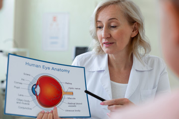 Attentive short-haired doctor pointing on scheme with eye anatomy
