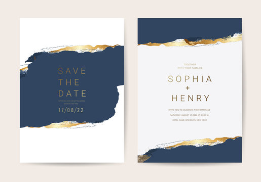 Wedding invitation cards with Luxury gold and indigo navy marble texture background and Abstract ocean style vector design template