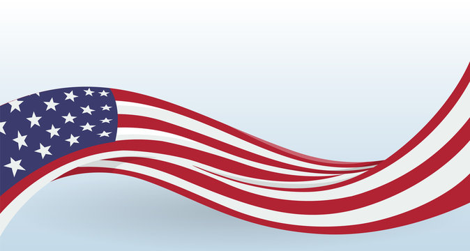 USA Waving National flag. Modern unusual shape. Design template for decoration of flyer and card, poster, banner and logo. Isolated vector illustration