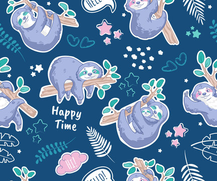Decor elements set with cute sloths with tropical leaves, clouds and stars on blue background. Seamless pattern. Can be used for sticker, patch, phone case, print, poster, design, t-shirt, party decor