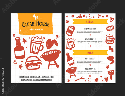Vintage grill menu design  Grill poster with doodle