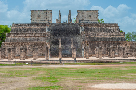 Ruins of an ancient Mayan temple, taken in the archaeological area of Chichen Itza, on the Yucatan peninsula
