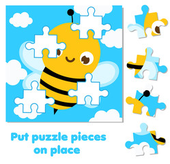 Jigsaw puzzle for toddlers. Match pieces and complete picture of cute bee. Educational game for children and kids.