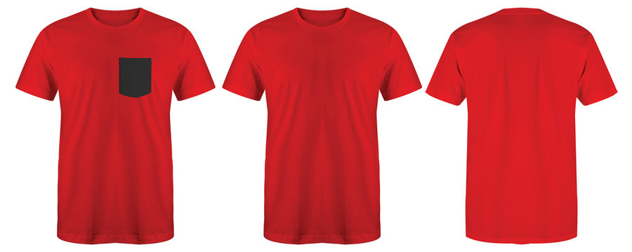 Blank t shirt set bundle pack. Red maroon t shirt isolated on white background with three different style suitable for mock up template