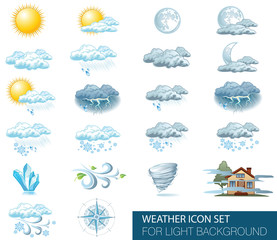 Vector weather forecast icons with bright background. Day and night