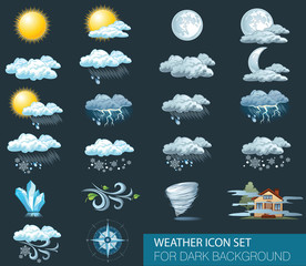 Fototapeta Vector weather forecast icons with dark background. Day and night