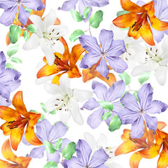 Fototapete - Beautiful floral background of lilies and clematis. Isolated