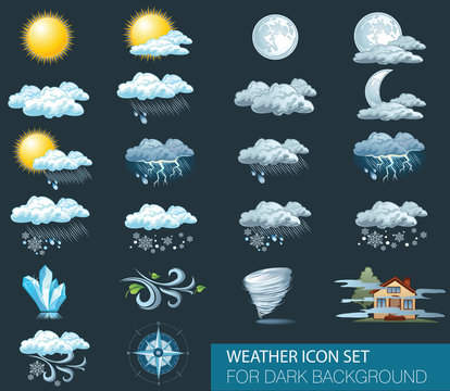 Vector weather forecast icons with dark background. Day and night