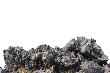Cliff stone acrimonious located part of the mountain rock put on the top of hill isolated on white background. Fototapete