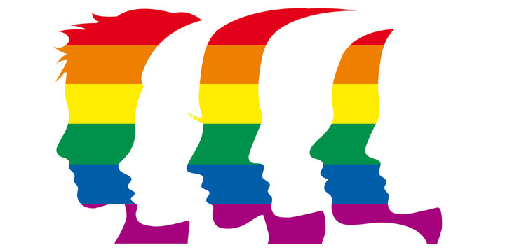 Vector sign people with rainbow. Environmental, peace or gay pride parade concept
