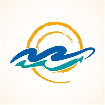 Abstract sun on sea waves. Vector sign design seaside, summer vacation