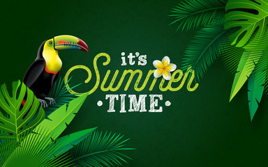 It's Summer Time Illustration with Flower and Toucan Bird on Green Background. Vector Tropical Holiday Design with Exotic Palm Leaves and Phylodendron for Banner, Flyer, Invitation, Brochure, Poster