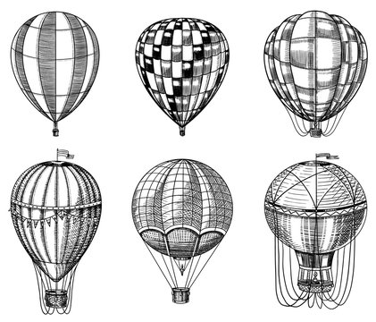 Set of Hot Air Balloons. Vector retro flying airships with decorative elements. Template transport for Romantic logo. Hand drawn Engraved vintage sketch.