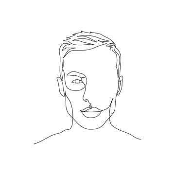 Continuous one line portrait of man with symmetric beautiful face. Art