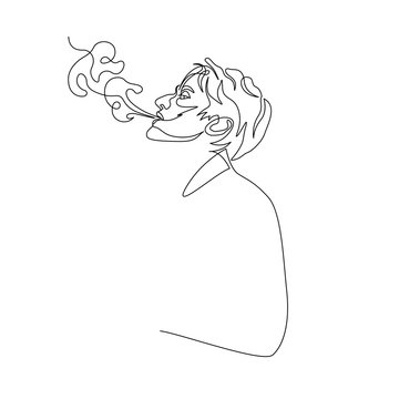 Continuous one line man exhale smoke of cigarette. Art