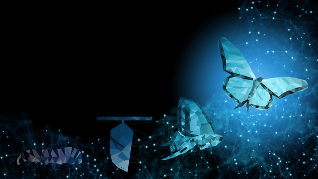 Background of beautiful abstract Business transformation innovation. Change from to high technology like butterfly life cycle. to imply with success future business growth concept or transform