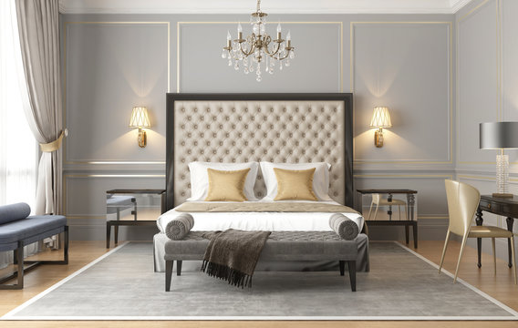 3d rendering of an elegant luxury grey beige Parisian bedroom