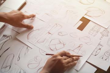 Fototapeta Production designer sketching Drawing Development Design product packaging prototype idea Creative Concept obraz