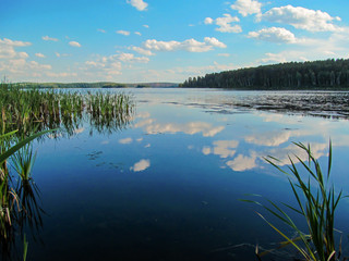 Summer idyllic landscape with lake and sky. Bright day view with blue sky and white clouds and reflection in calm water surface. Lake Chebarkul, South Ural, Russia. Wall mural