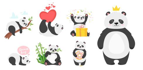 Cute panda bears flat vector illustrations set