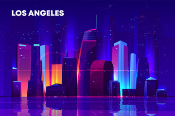 Los Angeles skyline with neon illumination. Night city architecture, modern megapolis with glowing skyscrapers near waterfront, old film with lines and pixel noise effect. Cartoon vector illustration Fototapete