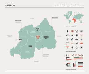 Vector map of Rwanda. Country map with division, cities and capital Kigali. Political map,  world map, infographic elements.