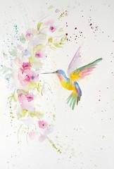 Watercolor painting of hummingbird. Handmade