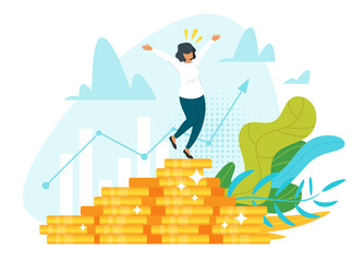 Stock market profit, income flat vector illustration