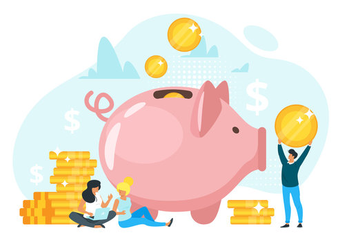 People putting savings in piggy bank vector illustration