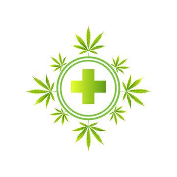 Medical marijuana icons pills, Rx bottles and other medicinal cannabis symbols.