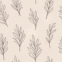Hand drawn floral seamless pattern. Vector background with leaves and flowers