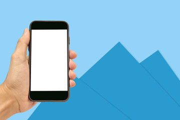 Hand Holding Mobile Smart Phone Mock up Empty On Screen for Design Texture or Concept in Mobile Technology with Blue Paper Background
