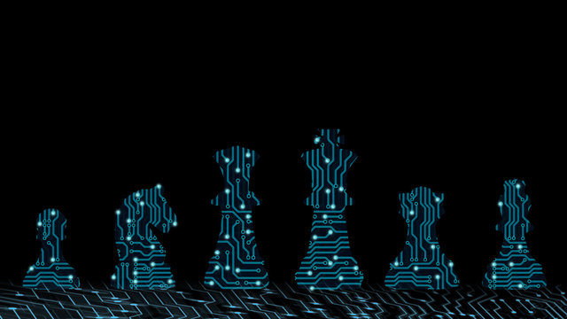 Abstract background of digital ai leadership strategy innovation planning. Plan for future business competition using blue chess set King , queen and horse to present business war game concept