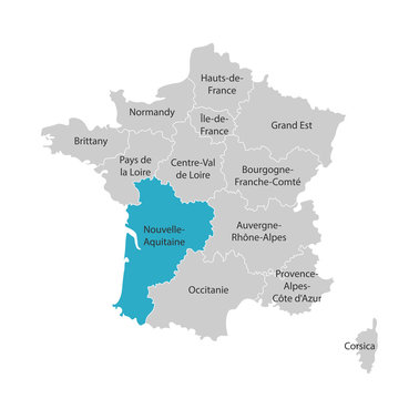 Vector isolated illustration of simplified administrative map of France. Blue shape of Nouvelle-Aquitaine. Borders of the provinces (regions). Grey silhouettes. White outline