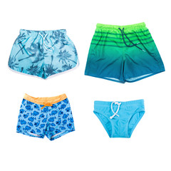 Collage of different shorts for boys on white background.