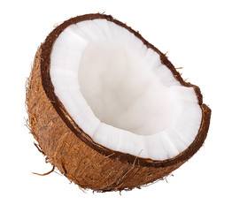 half coconut isolated on white background clipping path