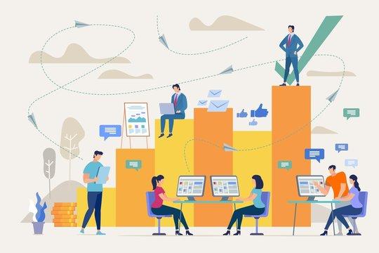 Company Success with Good Teamwork Vector Concept