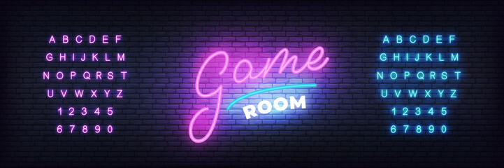 Game room neon template. Glowing lettering for gamer club.