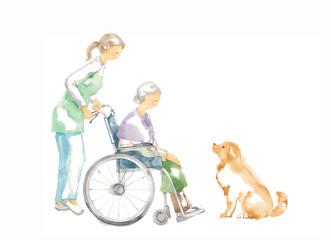 車椅子のおばあさん、介護と犬