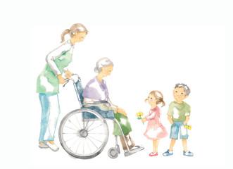 車椅子のおばあさん、介護と子供たち
