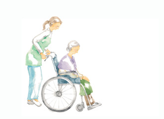 車椅子のおばあさん、介護