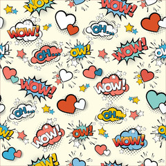 Acrylic Prints Pop Art Seamless vintage pattern for gift wrap and fabric design with pop art signs and comic cartoon bubbles